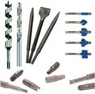 Drill bits, chisels, nozzles, router bits