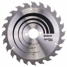 Sawing disc for wood Bosch OPTILINE WOOD; 190x2,6x30,0 mm; Z24; 15°