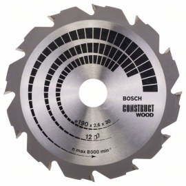 Sawing disc for wood Bosch CONSTRUCT WOOD; 190x2,6x30,0 mm; Z12; 12°