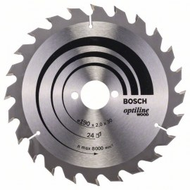 Sawing disc for wood Bosch OPTILINE WOOD; 190x2x30,0 mm; Z24; 15°