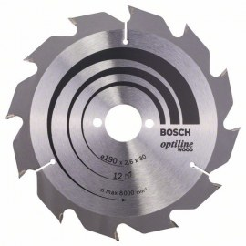 Sawing disc for wood Bosch OPTILINE WOOD; 190x2,6x30,0 mm; Z12; 15°