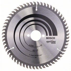 Sawing disc for wood Bosch OPTILINE WOOD; 190x2,6x30,0 mm; Z60; 15°