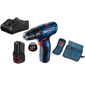 Cordless Impact Drill Bosch GSB 120-Li; 12 V; 2x2,0 Ah accu. + 23 accessories