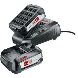 Accessory set Bosch 18 V; 2x2,5 Ah; Li-ion + charger AL 1830 CV