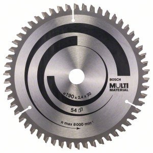 Sawing disc for wood Bosch MULTI MATERIAL; 190x2,4x20,0 mm; Z54; -5°