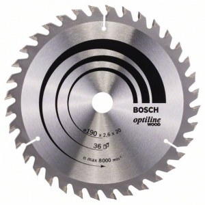Sawing disc for wood Bosch OPTILINE WOOD; 190x2,6x20,0 mm; Z36; 15°
