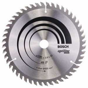 Sawing disc for wood Bosch OPTILINE WOOD; 190x2,6x20,0 mm; Z48; 15°