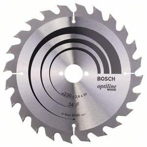 Sawing disc Bosch OPTILINE WOOD; 230x2,8x30,0 mm; Z24; 15°