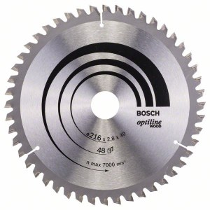 Sawing disc for wood Bosch OPTILINE WOOD; 216x2,8x30,0 mm; Z48; -5°