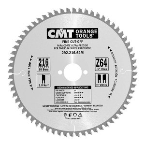 Sawing disc for wood CMT 216x2,8x30; Z64; -5°