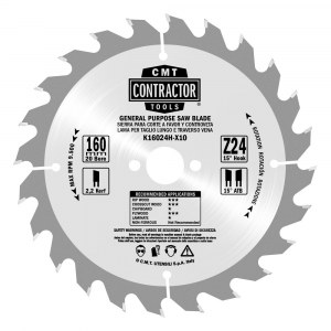 Sawing disc for wood CMT 165x1,7x20; Z24; 15°°
