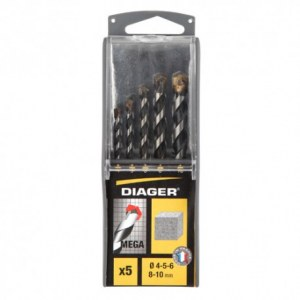 Set of drill bits for concrete Diager; 4/5/6/8/10 mm; 5 units
