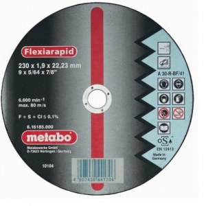 Abrasive cutting disc Metabo; 230x1,9 mm for metal